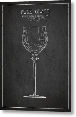 Wine Glass Patent From 1986 - Charcoal Metal Print by Aged Pixel