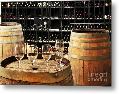 Wine Glasses And Barrels Metal Print by Elena Elisseeva
