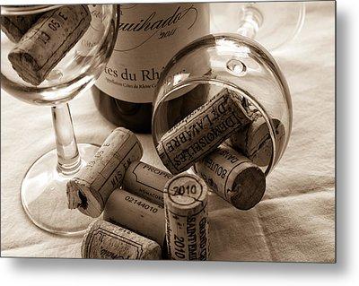 Wine Glasses And Corks Toned Metal Print
