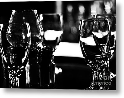 Wine Glasses On Table Metal Print by Danny Hooks