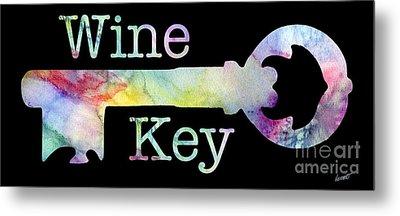 Wine Key Watercolor Metal Print
