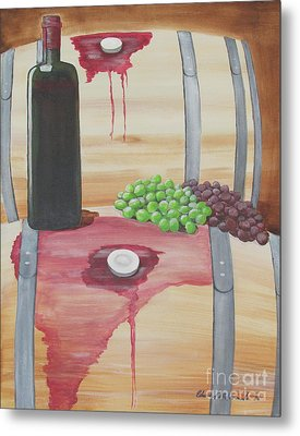 Wine N Grapes Metal Print