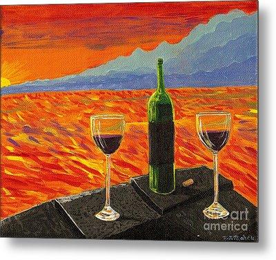 Wine On Sunset Terrace Metal Print by Vicki Maheu