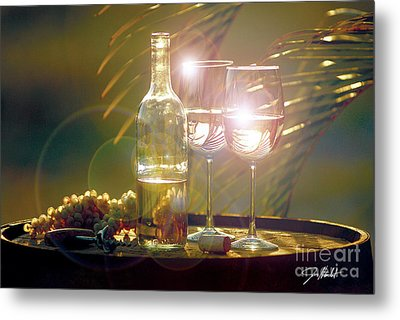 Wine On The Barrel Metal Print