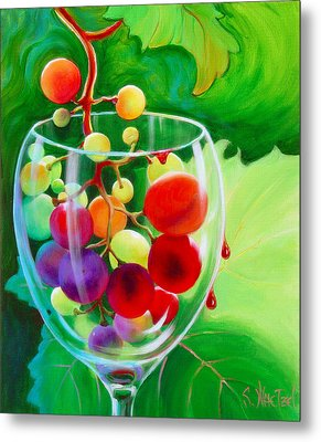 Metal Print featuring the painting Wine On The Vine IIi by Sandi Whetzel