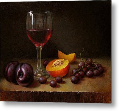 Wine Peach And Plums Metal Print by Timothy Jones