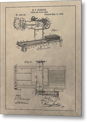 Wine Press Patent Metal Print