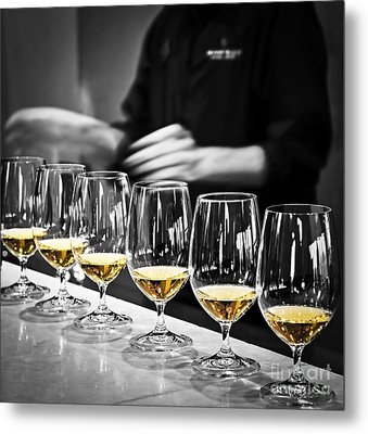 Wine Tasting Glasses Metal Print by Elena Elisseeva
