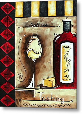 Wine Tasting Original Madart Painting Metal Print by Megan Duncanson