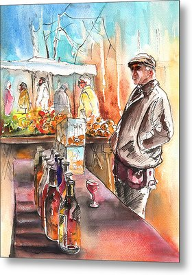 Wine Vendor In A Provence Market Metal Print by Miki De Goodaboom