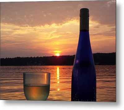 Wine Water Sunset Metal Print