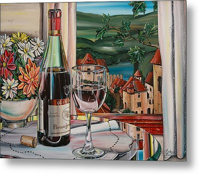 Wine With River View Metal Print
