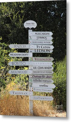 Winery Street Sign In The Sonoma California Wine Country 5d24601 Metal Print by Wingsdomain Art and Photography