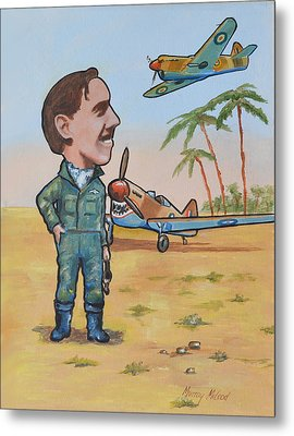 Metal Print featuring the painting Wing Cdr.clive Caldwell by Murray McLeod