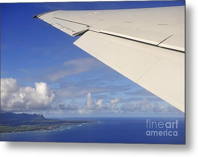 Wing Of Airplane Leaving Metal Print by Sami Sarkis