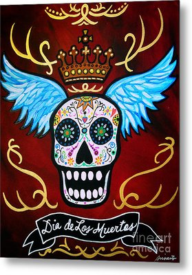 Metal Print featuring the painting Winged Muertos by Pristine Cartera Turkus