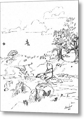 Winnie The Pooh By The Creek   After E H Shepard Metal Print