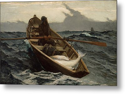 Winslow Homer The Fog Warning Metal Print by Winslow Homer