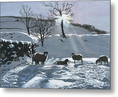Winter Afternoon At Dentdale Metal Print by John Cooke