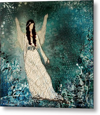 Winter Angel Inspirational Christian Mixed Media Painting  Metal Print by Janelle Nichol
