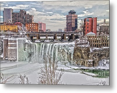 Winter At High Falls Metal Print by William Norton