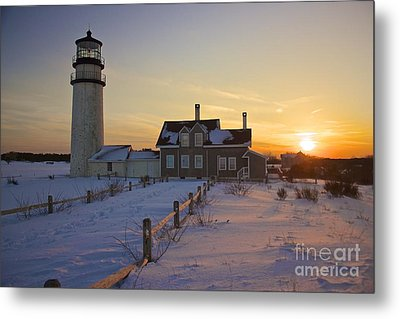 Winter At Highland Lighthouse Metal Print by Amazing Jules