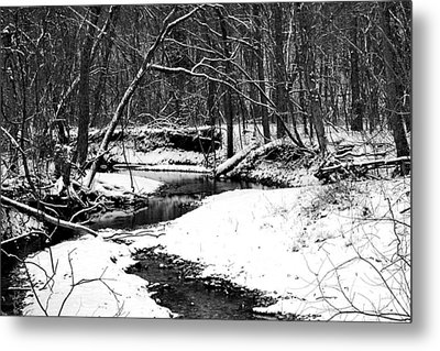 Metal Print featuring the photograph Winter At Pedelo Black And White by Deena Stoddard