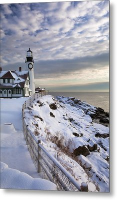 Winter At Portland Head Metal Print by Eric Gendron