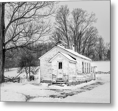 Winter At The Amish Schoolhouse - Bw Metal Print by Chris Bordeleau