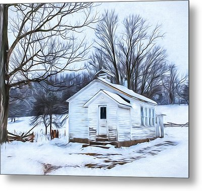 Winter At The Amish Schoolhouse Metal Print by Chris Bordeleau