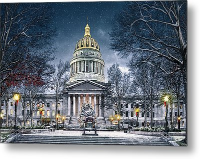 Winter At The Capitol Metal Print by Mary Almond