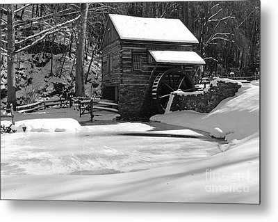 Winter At The Mill In Black And White Metal Print by Paul Ward