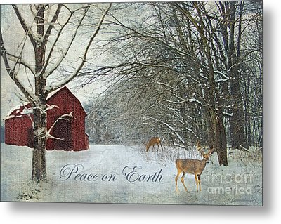 Winter Barn 2 - Peace On Earth Metal Print