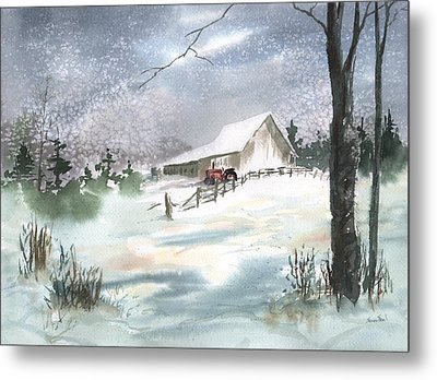 Winter Barn And Tractor Metal Print by Sean Seal