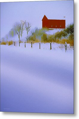 Winter Barn Metal Print by Ron Jones