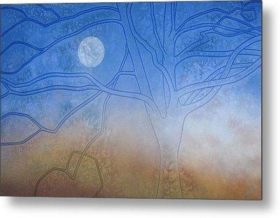 Winter Beech And Diurnal Moon Metal Print