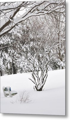 Winter Bench Metal Print by Frederico Borges