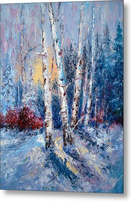 Winter Birch Trees Metal Print by Holly LaDue Ulrich