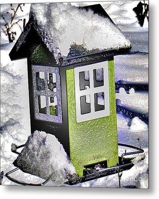 Metal Print featuring the photograph Winter Birdfeeder by Nina Silver
