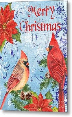 Winter Blue Cardinals-merry Christmas Card Metal Print
