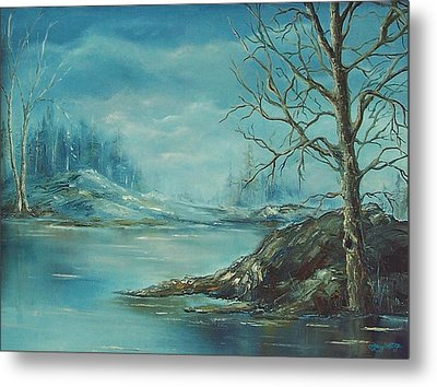 Winter Blue Metal Print by Mary Wolf