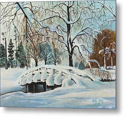 Winter Bridge Metal Print by Cathy Long