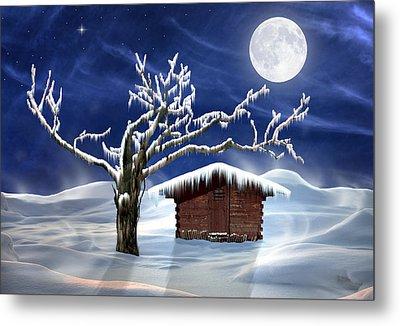 Winter Cabin Metal Print by Nina Bradica