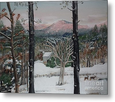 Winter - Cabin - Pink Knob Metal Print