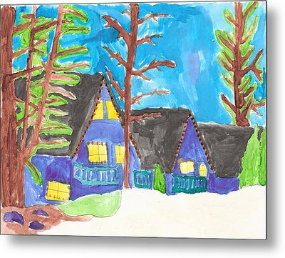 Metal Print featuring the painting Winter Cabins by Artists With Autism Inc
