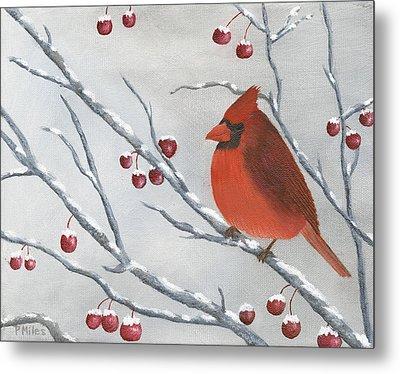 Winter Cardinal Metal Print by Peter Miles