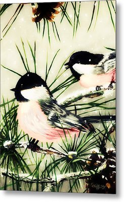 Winter Chickadees 2 Metal Print by Chastity Hoff