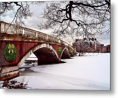 Winter Christmas On The Charles River Boston Metal Print by Elaine Plesser