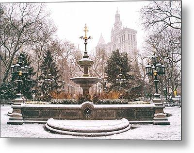 Winter - City Hall Fountain - New York City Metal Print