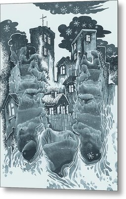 Winter City Metal Print